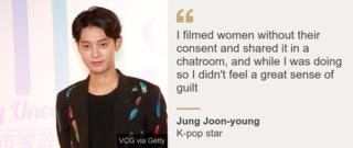 I filmed women without their consent and shared it in a chatroom, and while I was doing so I didn't feel a great sense of guilt, K-pop star Jung Joon-young said