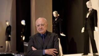 Pierre Bergé, co-founder of Yves Saint Laurent Couture House, at the Bowes Museum in Barnard Castle, north-east England, on 9 July 2015 promoting the first UK exhibition dedicated to the legendary French fashion designer