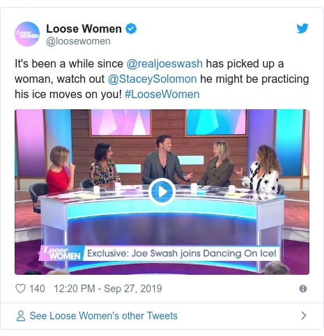 Twitter post by @loosewomen: It's been a while since @realjoeswash has picked up a woman, watch out @StaceySolomon he might be practicing his ice moves on you! #LooseWomen
