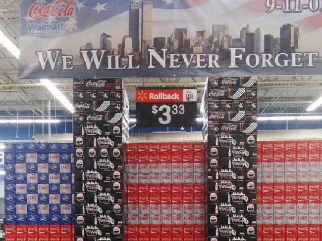 Walmart caused a storm with this September 11 'tribute' of Coca Cola multi-packs. Picture: Supplied.