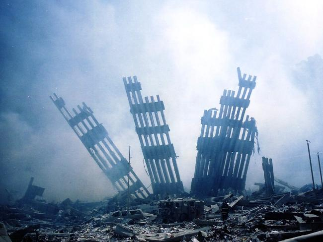 This file photo taken on September 11, 2001 shows the rubble of the World Trade Center smouldering following the collapse of the towers. Picture: AFP.