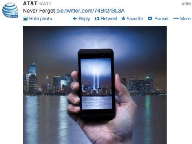 Phone company ATamp;T was slammed in 2013 for this September 11 ad. Picture: Supplied