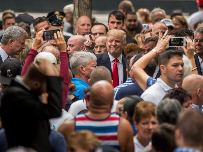 Donald Trump greets supporters as he attends a September 11 memorial in New York. Picture: AP Photo/Andrew Harnik