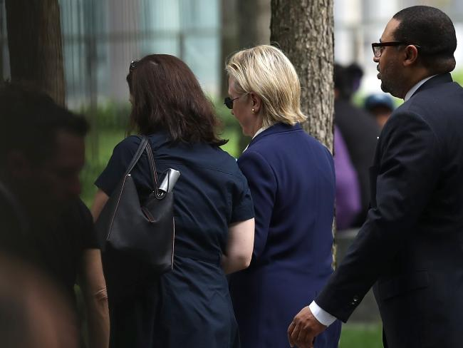"""Hillary Clinton reportedly """"overheated"""" during a September 11 memorial in New York. Picture: Justin Sullivan/Getty Images/AFP"""
