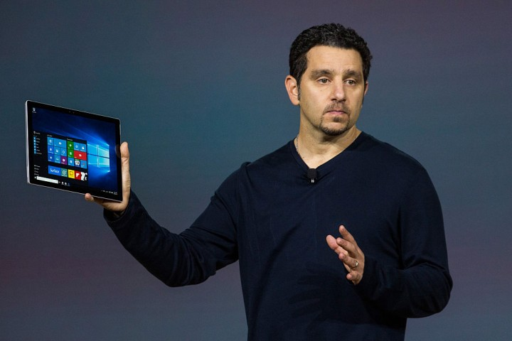Microsoft Corporate Vice President Panos Panay introduces a new tablet titled the Microsoft Surface Pro 4 at a media event for new Microsoft products