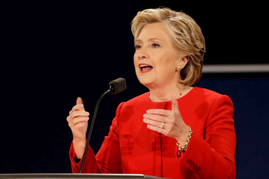 Democratic presidential candidate Hillary Clinton answers a question during the presidential debate with Republican presidential candidate Donald Trump at Hofstra University in Hempstead N.Y. Clinton has vowed to respond