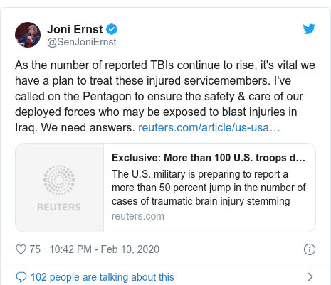 Twitter post by @SenJoniErnst: As the number of reported TBIs continue to rise, it's vital we have a plan to treat these injured servicemembers. I've called on the Pentagon to ensure the safety  care of our deployed forces who may be exposed to blast injuries in Iraq. We need answers.