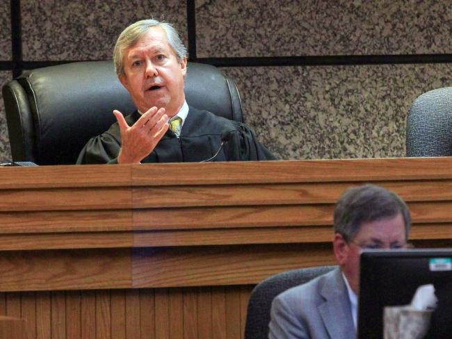 Judge Edgar Long presides over a hearing of the 14-year old charged after the deadly shooting spree. Picture: Ken Ruinard /The Independent-Mail via AP