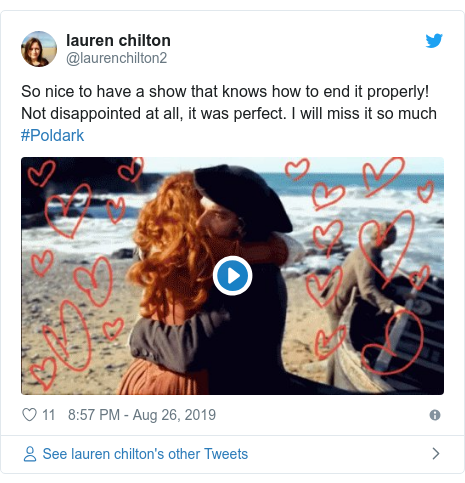 Twitter post by @MelanieHewitt61: I know I can press the off button, but I've been a fan of #Poldark for 40 years  counting. The awful travesty of this final episode of an indifferent, odd  disconnected series 5 is like hypnosis. I'm appalled but can't look away. What have they done? @PoldarkTV  @mammothscreen