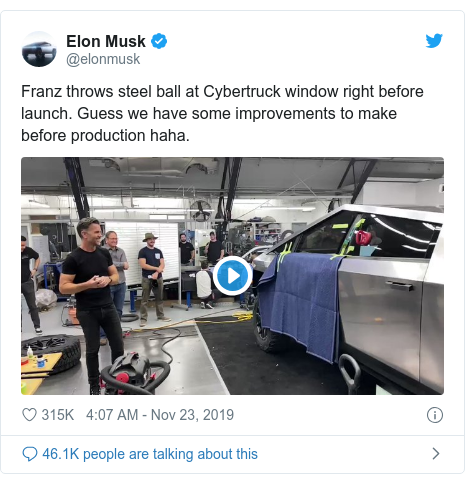 Twitter post by @elonmusk: Franz throws steel ball at Cybertruck window right before launch. Guess we have some improvements to make before production haha.