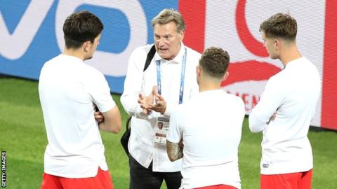 Glenn Hoddle was a TV pundit at the 2018 World Cup and was pictured chatting to England players after their win over Colombia
