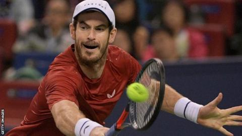 Andy Murray playing at the Shanghai Masters
