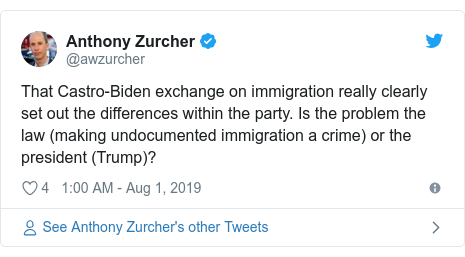 Twitter post by @awzurcher: Biden's go easy on me, kid line to Harris during the introductions will probably be seen either as endearing or infuriating, based on your age.