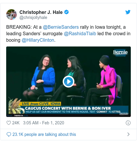 Twitter post by @chrisjollyhale: BREAKING  At a @BernieSanders rally in Iowa tonight, a leading Sanders' surrogate @RashidaTlaib led the crowd in booing @HillaryClinton.