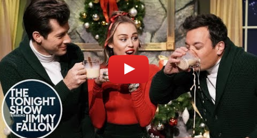 Youtube post by The Tonight Show Starring Jimmy Fallon: Miley Cyrus Updates Santa Baby for 2018 with Mark Ronson and Jimmy Fallon