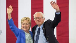 Hillary Clinton and Bernie Sanders in New Hampshire July 2016