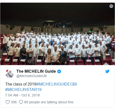 Twitter post by @MichelinGuideUK: The class of 2019#MICHELINGUIDEGBI #MICHELINSTAR19