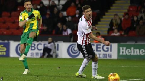 Kieran Gibbs puts West Brom 2-1 ahead at Sheffield United