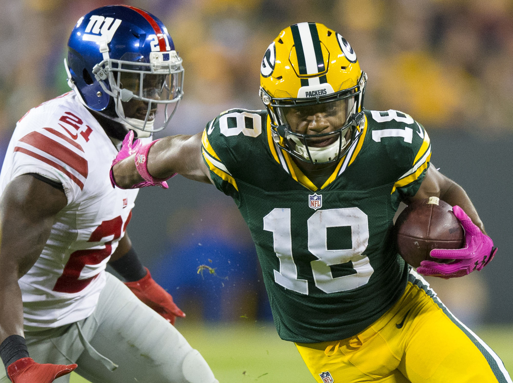 Oct 9 2016 Green Bay WI USA Green Bay Packers wide receiver Randall Cobb rushes with the football around New York Giants#039 Landon Collins during the third quarter at Lambeau Field. Green Bay won 23-16. Mandatory Credit Jeff Hanisch