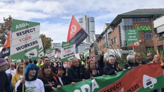 Protesters outside Asda's headquarters in Leeds