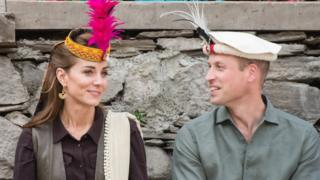 Duke and Duchess of Cambridge wear traditional Pakistani headwear as they visit a settlement of the Kalash people on 16 October 2019