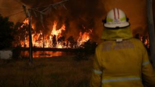 New South Wales fire officers watch on as the Gospers Mountain Fire impacts the Bilpin Fruit Bowl in Bilpin