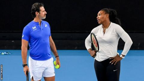 Patrick Mouratoglou and Serena Williams during practice before the Australian Open