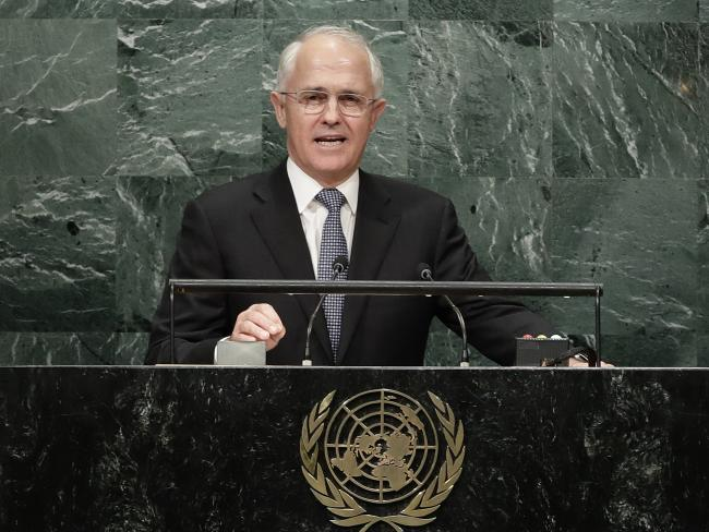 Malcolm Turnbull speaks during the 71st session of the United Nations General Assembly, Wednesday, Sept. 21, 2016, at U.N. headquarters. (AP Photo/Frank Franklin II)