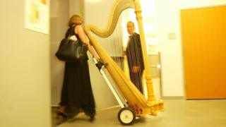 A woman carrying a harp