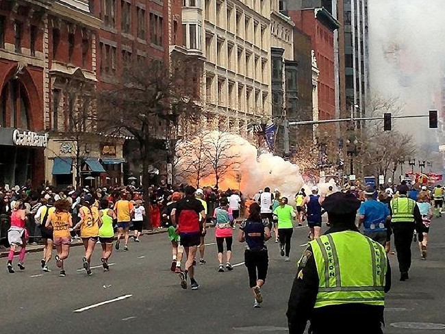 The pipe bomb brings back memories of the Boston Marathon bombing in April 2013. Picture: Supplied