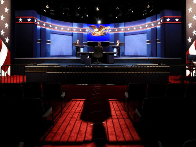 The stage is set in Las Vegas for some tough questions for the Democratic nominee from Fox News anchor Chris Wallace. Picture: Cliff Hawkins/Getty Images/AFP