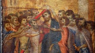 Part of Cimabue's Christ Mocked painting