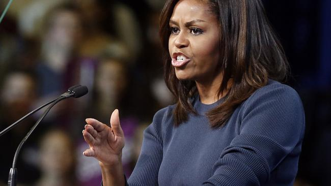 Michelle Obama delivered the remarks at a university gymnasium. Pic: AP