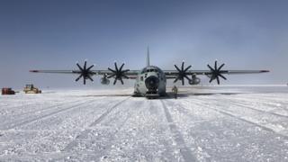 Hercules arriving in Antarctica