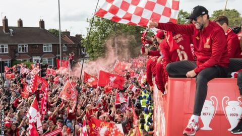 Liverpool parade their Champions League trophy