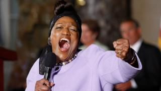 Jessye Norman sings at a ceremony in Washington on 31 July 2013