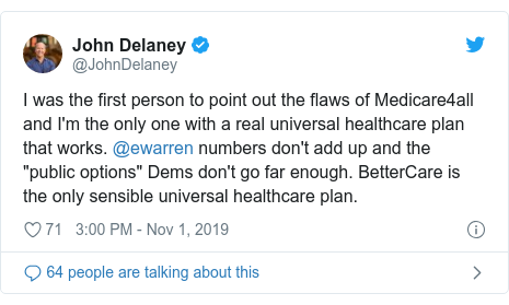 Twitter post by @MichaelBennet: Voters are sick and tired of politicians promising them things that they know they can't deliver. @ewarren's new Medicare for All numbers are simply not believable, and have been contradicted by experts.