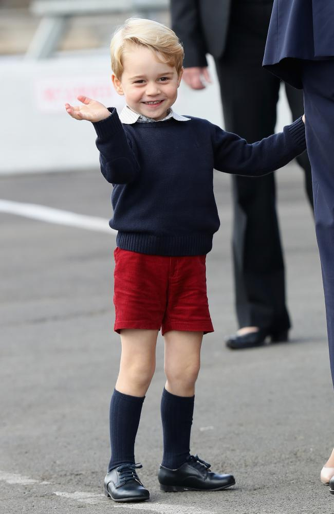 Prince George waves as he leaves from Victoria Harbour to board a seaplane on the final day of the Royal Tour. Picture: Chris Jackson/Getty Images