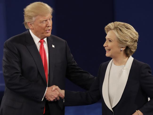 There were some tense moments during the second presidential debate between Donald Trump and Hillary Clinton. Picture: AP Photo/Patrick Semansky