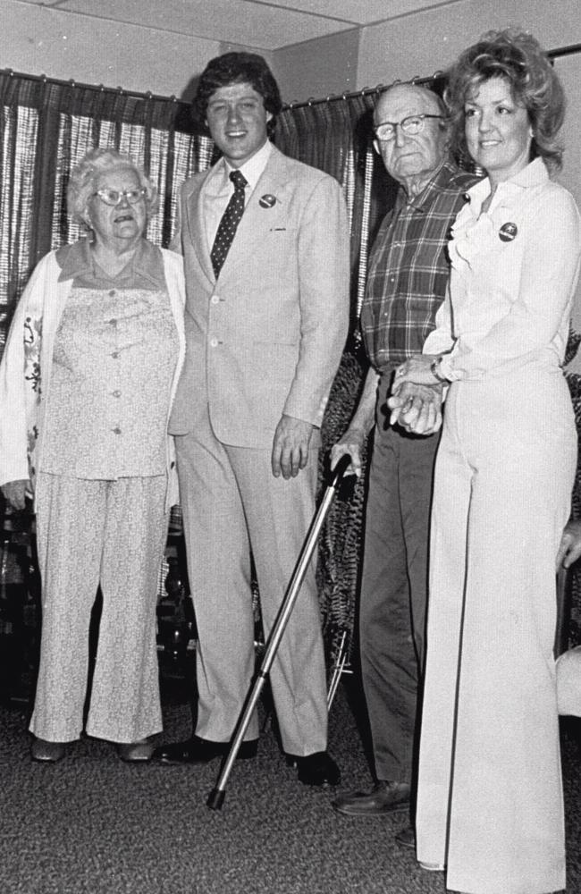 Juanita Broaddrick (right) with nursing home residents and the then State Attorney-General Bill Clinton who she claimed raped her at a hotel in Little Rock, Arkansas when he was running for governor in 1978. Picture: AP