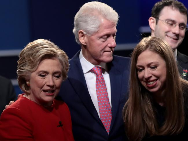 Chelsea Clinton watched her mother, Democratic presidential nominee Hillary Clinton, at the debate with her father, the former US President Bill Clinton. Picture: Drew Angerer / Getty Images / AFP