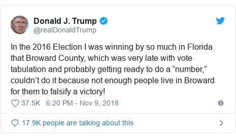 "Twitter post by @realDonaldTrump: Rick Scott was up by 50,000+ votes on Election Day, now they ""found"" many votes and he is only up 15,000 votes. ""The Broward Effect."" How come they never find Republican votes?"