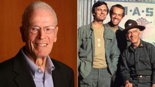 Gene Reynolds in 2009 and Mash stars Alan Alda, Mike Farrell and Harry Morgan in 1975