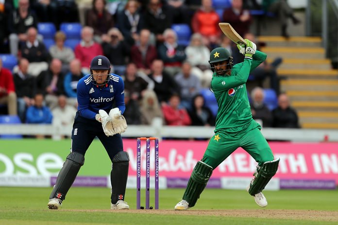 Pakistan's Shoaib Malik hits out during the fifth one day cricket international against England at the SSE SWALEC Stadium Cardiff Wales Sunday Sept 4
