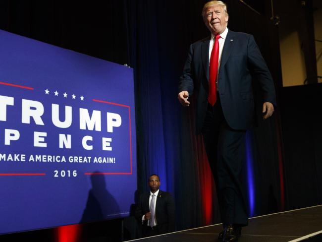 Republican presidential candidate Donald Trump gears up to speak at a campaign rally in West Palm Beach, Florida. Picture: AP Photo/Evan Vucci