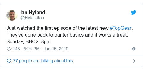 Twitter post by @JohnNicholRAF: Well. I for one. Really enjoyed the new @BBC_TopGear. Very good,  very funny, start by the new presenters @flintoff11  @PaddyMcGuinness,  Chris @harrismonkey provides great motoring professionalism.Sod the haters guys; great show.!#topgear