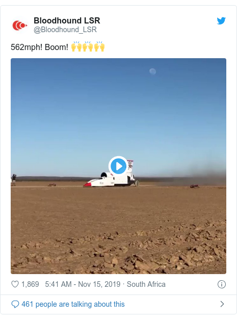 Twitter post by @Bloodhound_LSR: 562mph! Boom! ???