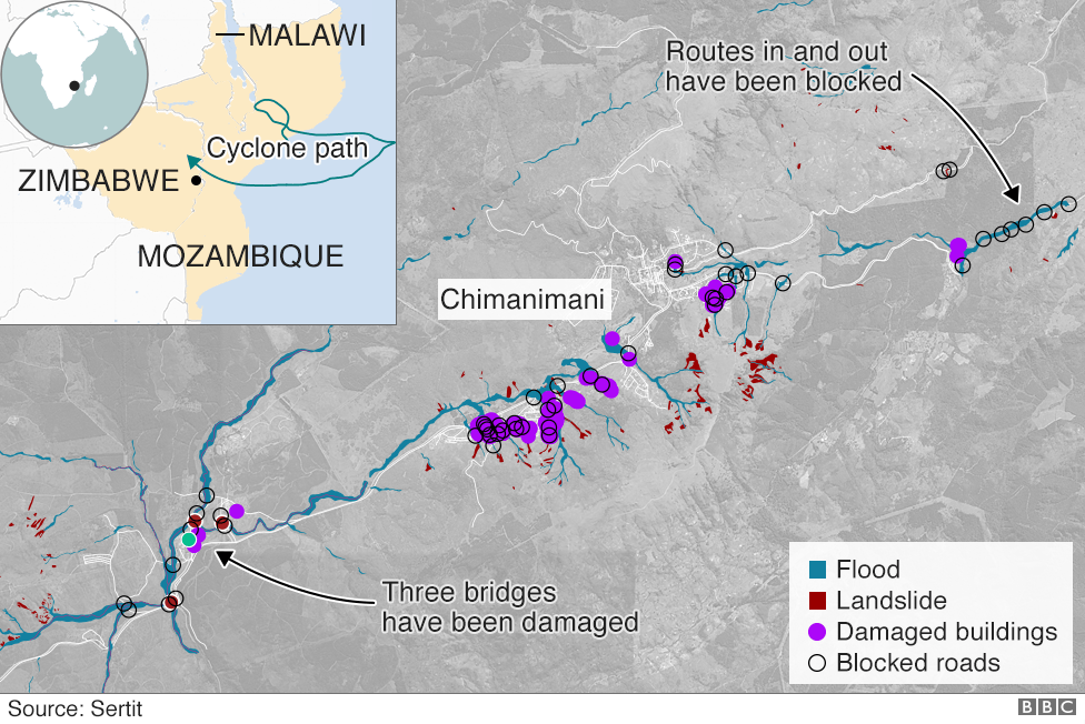 Map showing flooding in Chimanimani, Zimbabwe