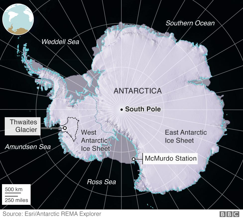 Map of key locations on Antarctica
