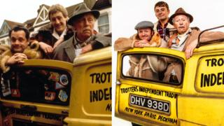 Sir David Jason, Nicholas Lyndhurst and Lennard Pearce in Only Fools and Horses and Tom Bennett, Ryan Hutton and Paul Whitehouse as they will appear in Only Fools and Horses The Musical